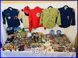 1,219PC Vintage-Now BSA Boy Scouts LOT Patches Pins Jamboree Council 30s-00s