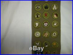 1930-40's Boy Scouts Of America Khaki Sash 29 Merit Badges 4 Patches