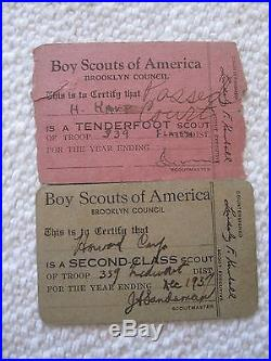 1930s 40s BROOKLYN NY BOY SCOUT MEMBER CARDS PATCHES BOLO SLIDE & MORE