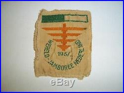 1937 Boy Scout World Jamboree Particpants Patch Green & White Bar