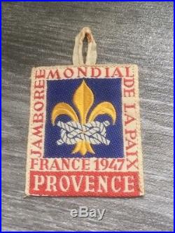 1947 world jamboree PROVENCE subcamp patch jamboree de la paix badge