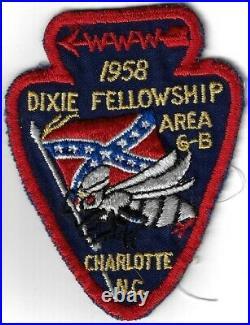 1958 Dixie Fellowship Patch OA Area 6B Host Catawba 459 Camp Steere PD251