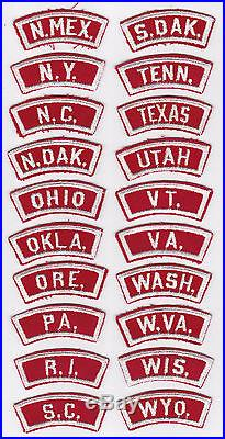 1960's USA BOY SCOUTS OF AMERICA BSA STATES R&W SCOUT PATCH COMPLETE SET (50)