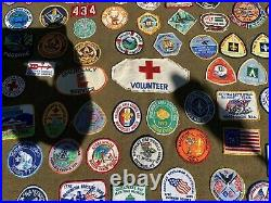 1960s-70s Green Wool Poncho With 150 Boy Scout patches RARE! With Original Apollo 11