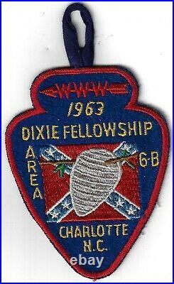 1963 Dixie Fellowship Patch OA Area 6B Host Catawba 459 Camp Steere PD255