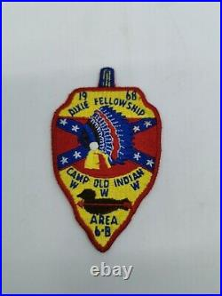 1968 Dixie Fellowship Area 6-B Patch Camp Old Indian Boy Scout Patch