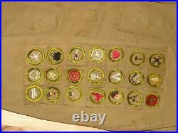 21 square merit badges on jacket star & life patches eagle ribbon bar, pl