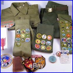 55) Vintage Men's Boy Scout Uniform, Badges, Patches, Sashes
