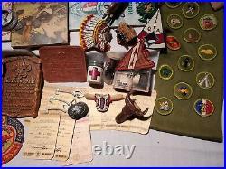 70 Items- 60's Boy Scout & Master Lot Compass, patches, neck slides, Den Book