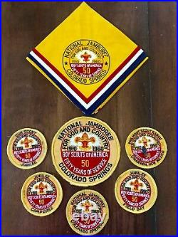 8 VTG 1960 BSA National Jamboree Neckerchief & Patches 50yrs For GOD &Country