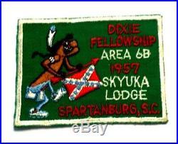 AREA 6B DIXIE FELLOWSHIP 1957 Skyuka Lodge SPARTANBURG S. C. Scout BSA Patch