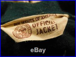 BSA BOY SCOUTS GREEN WOOL SHIRT JACKET 37 PATCHES/BADGES VINTAGE Merit sash cap
