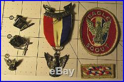 BSA Boy Scout Eagle Scout STERLING Stange 4 Medal, Pins, & Patches VERY NICE