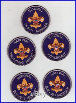 BSA National Manager position scout patch badge lot, Since 1910 back