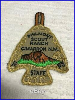 Boy Scout Philmont Arrowhead Patch STAFF Vintage very early plastic backing mint