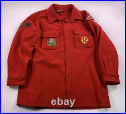 Boy Scout of America Red Wool Shirt Coat Official Jacket Patches VTG BSA Large