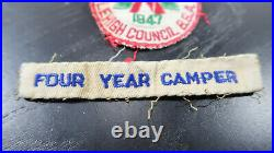 Boy Scouts 1947 Camp Trexler Staff Patch with 4 Year Camper Tab