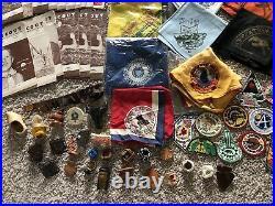 HUGE Lot 330+ 1940s-60s Boy Scout Items Patches Neckerchiefs Slides Pins Books
