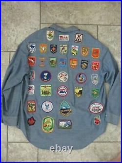 Huge Lot Of (47) Vintage RARE Traveling Patches On a JC Penny'Big Mac' Shirt