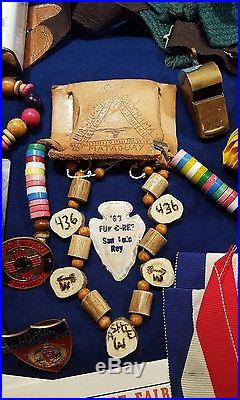 Huge Named Boy Scout Collection 60's 70's patches sach awards pins letter & more