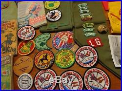 Huge Vintage BSA Boy Scouts Lot Patches Sash Neckerchiefs Uniform Books Caps