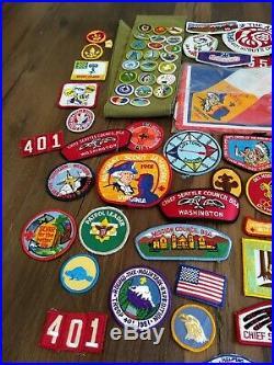 Huge Vintage Boy Scouts BSA Patches Sash lot Estate Find