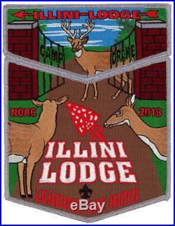 Illini Lodge 55 NOAC 2018 OA 2-Piece Boy Scout Flap Patch Set Order of the Arrow