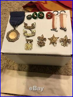 Lot Old Boy Scout Of America Items (Patches)! Patent 1911 Pins And Sterling