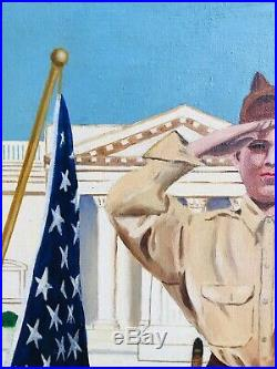 MID Century Vintage Boy Scout Portrait American Flag Patch Knife Chuck Taylor
