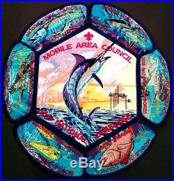 MOBILE AREA COUNCIL OA 322 2013 SCOUT Jamboree 7-PATCH SET GUY HARVEY DELEGATE