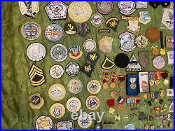 Military Junk Drawer Lot, WW2 Modern Boy Scout Medals Patches USMC Army Navy