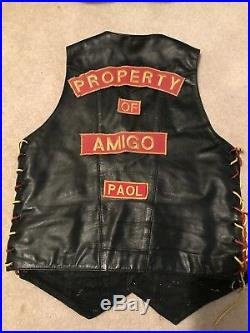 Property of Amigos MC, Red and Gold Patch Set