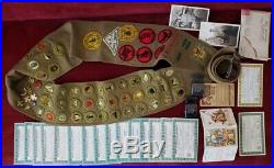 RARE Lot Vintage 1937 Boy Scouts SASH Merit Badges Felt CAMPOREE Patches Certs