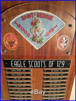 RARE Vintage BSA Boy Scouts EAGLE SCOUT Troop 129 Name Plaque Patch 1935-1978