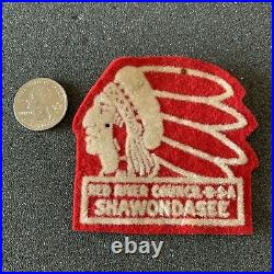 Red River Council BSA Boy Scouts Of America Camp Shawondasee Indian Felt Patch