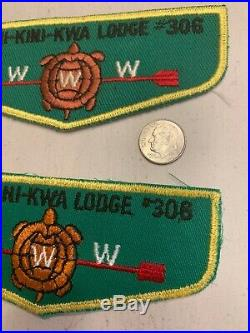 SET of OA Boy Scout Patch-MICHI-KINI-KWA Lodge 306 WWW F-1 Flap-Original & Fake