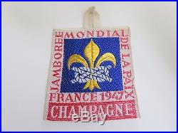 Scout cover patch badge world jamboree 1947 CHAMPAGNE OFFICIAL PATCH