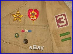 Uniform Coat circa 1917 21 square merit badges life & star patches, PL etc