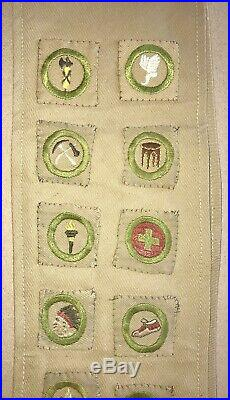 VINTAGE 1930's 1940's BOY SCOUTS SASH with 18 PATCHES MERIT BADGES MAKE OFFER
