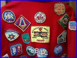 VINTAGE 60s 70s BOY SCOUTS 44 OFFICIAL JACKET BSA Red Wool 50 Miler & Patches