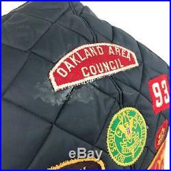 VINTAGE Blue Puffer Vest With Patches Sz S Boys Scout Peterbilt Mack Cat USA Many