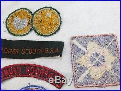 VTG 1940's BSA BOY SCOUT DETROIT EXPLORER STAMPS MERIT BADGE CAMP PATCHES LOT 19
