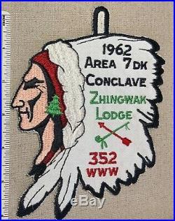 VTG 1962 ZHINGWAK LODGE 352 Area 7DK Conclave PATCH OA Order of the Arrow CHIEF