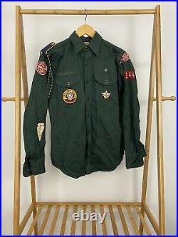 VTG 50s Boy Scouts Of America BSA Sanforized Explorers Patch Shirt Size 14 1/2