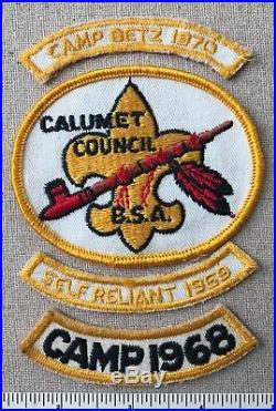 VTG CALUMET COUNCIL Boy Scout PATCH & CAMP BETZ SEGMENTS PP CP Peace Pipe 1960s