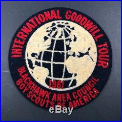 VTG Felt BOY SCOUTS Patch Blackhawk Area Council International Goodwill Tour 60s