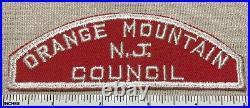 VTG ORANGE MOUNTAIN N. J. COUNCIL Boy Scout Red & White Community Strip PATCH RWS