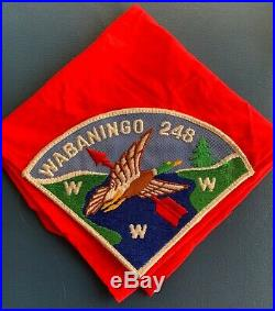 VTG WABANINGO LODGE 248 OA Order of the Arrow Pie PATCH NECKERCHIEF Boy Scout