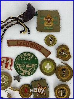 Vintage 1940's Boy Scouts Patches Badges Pins Lot 32 Sterling Pin Estate Find