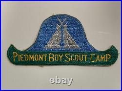 Vintage 1940s Piedmont Boy Scout Camp Patch NC Blue Green White 5.75 wide